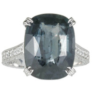 Antique Cushion Natural Blue Green Sapphire Ring Micro Pavé Diamond Engagement