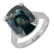 Antique Cushion Natural Blue Green Sapphire Ring Micro Pavé Diamond Engagement
