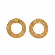Estate Mesh Circle Italian Earrings 14k Yellow Gold