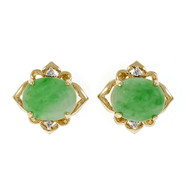 Estate Jadeite Jade Earrings 14k Yellow Gold Diamond