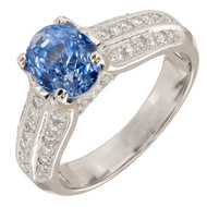 Gem Oval Sapphire JA Diamond Ring 18k White Gold