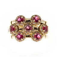 Vintage Sonia B 1.56ct Red Rubellite .42ct 56 Full Cut Diamond 14k Flex Ring