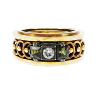 Antique Victorian 1850 Tourmaline Diamond Ring Yellow Gold Silver Top