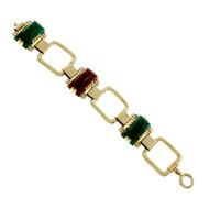Vintage Modernist Mid-Century Chrysophase Carnelian Bracelet 14k Green Gold