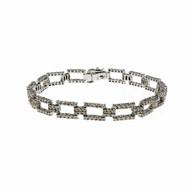 Estate Diamond Box Link Diamond Bracelet 14k White Gold