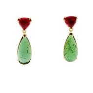 Peter Suchy Pink & Green Tourmaline Dangle Earrings 18k Yellow Gold