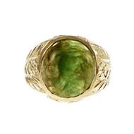 Vintage Men's Natural Certified Jadeite Jade Ring 14k Yellow Gold