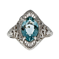 Vintage Art Deco Marquise Aqua Filigree Ring 14k White Gold