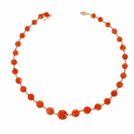 Natural Certified Carved Coral Mid Century Necklace 14k Yellow Gold