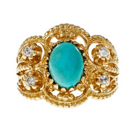 Vintage Mid Century Natural Persian Turquoise Ring 14k Gold Byzantine Diamond