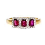 Spark GIA Certified Vivid Red Ruby Ring 18k Yellow White Gold