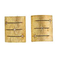 Vintage 1950 Florentine Finish Tops 14k Gold Domed Star Set Diamond Cuff Links