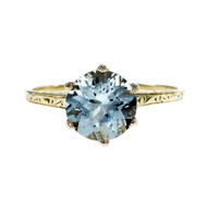 Vintage Aqua Solitaire Ring 14k White Ring 14k White Yellow Gold