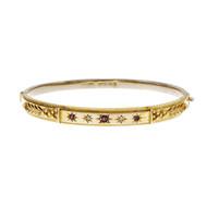 Victorian English 1900 Ruby Diamond Bangle Bracelet Yellow Gold
