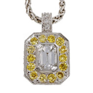 Peter Suchy Emerald Cut Diamond Pendant Fancy Intense Yellow Accents Platinum