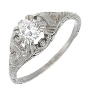 Antique Art Deco .40ct 18k White Gold Filigree Ring