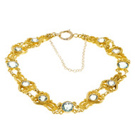 Art Nouveau Estate 1900 14k Yellow Gold 4.50ct Blue Zircon Bracelet