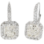 Peter Suchy Radiant Cut Diamond Halo Dangle Earrings 18k White Gold