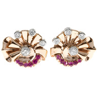 Retro Deco 14k Pink Gold .50ct Pink Sapphire Clip Post Earrings .90ct Diamond