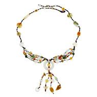 Estate GIA Natural Jadeite Jade Necklace Carved Multi Color Jade