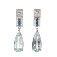 Estate 1930 Pear Shape Aqua Sapphire Dangle Earrings Diamond 14k White Gold