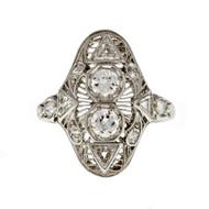Art Deco 1930 Filigree Old European Round & Triangle Diamond Ring Platinum