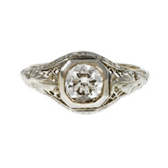 Estate 1930 Filigree Transitional Cut Diamond Engagement Ring 14k White Gold