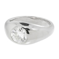 Estate Men's Old European Brilliant Cut Diamond Ring 14k White Gold