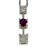 Estate Diamond Ruby Drop Necklace 14k White Gold