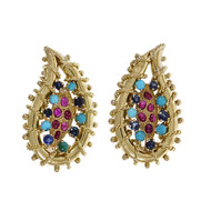Vintage 1950 Ruby Turquoise Sapphire Earrings 18k Yellow Gold Clip Post