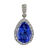 Tanzanite Pear Shape Pendant Diamond 14k White Gold