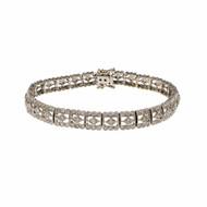 Estate Diamond Bracelet Deco Style 18k White Gold