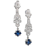 Estate 1920 Art Deco Sapphire Dangle Earrings Platinum Diamond