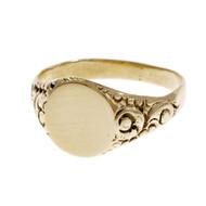 Victorian 1900 Estate Signet Ring 14k Yellow Gold