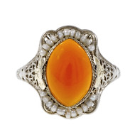 Vintage Art Deco Carnelian Natural Pearl Ring Filigree 14k White Gold