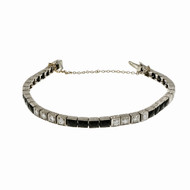 Vintage Art Deco Calibré Cut Black Onyx Bracelet Platinum Diamond