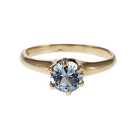 Victorian 1900 Aqua Engagement Ring 14k Yellow Gold