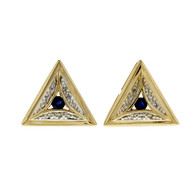 Estate Triangular Earrings Sapphire Diamond 14k Yellow Gold