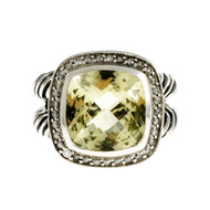 Estate David Yurman Prasiolite Ring Diamond Sterling Silver