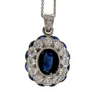 Estate Deep Blue Sapphire Diamond Pendant BK 18k White Gold