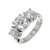 Diamond Platinum Ring Center 1.61cts Sides 1.41cts Feather Filled Laser Drilled<br><br><ul>