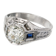 Men's Vintage 1920 Diamond  Ring, Rare Old Mine Brilliant cut Diamond in 20K /hand Engraved Setting.<br><br><ul>