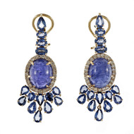 Tanzanite Sapphire Diamond Dangle Earrings 18k Pink Gold