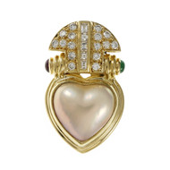 Olsen Designer Pendant Enhancer 18k Yellow Gold Mobe Pearl Ruby Emerald Diamond