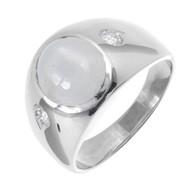 Vintage 1940 Men's Star Sapphire Ring 14k White Gold