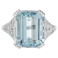 Vintage Art Deco Aqua Ring 1925 Platinum Diamond