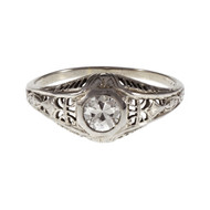 Edwardian Filigree Engagement Ring Transitional Brilliant Cut 18k White Gold