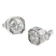 Peter Suchy Octagonal Diamond Stud Earrings 18k White Gold