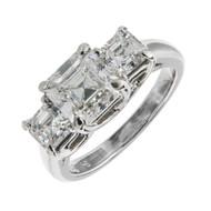 Hammerman Brothers Asscher Cut Diamond 3 Stone Engagement Ring Platinum