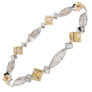 Michael Beaudry Natural Fancy Yellow Diamond Bracelet Platinum 18k Yellow Gold